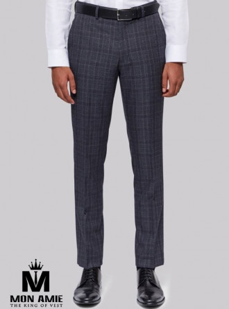 Checked Regular Fit Trouser in Grey